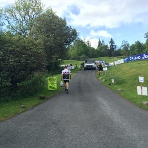 The start and end of the race – that hill is a killer after 26 miles!
